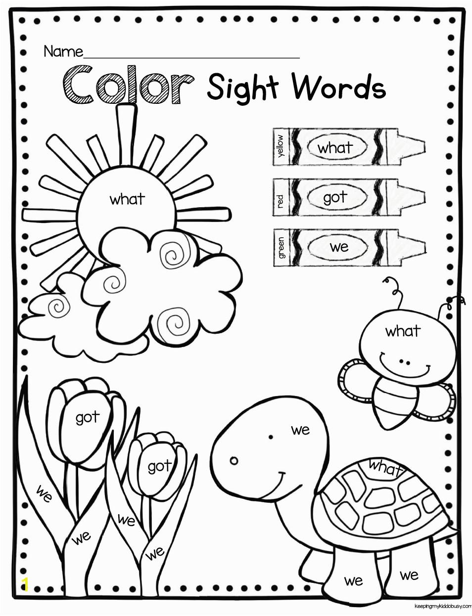 1012 color by sight word kindergarten