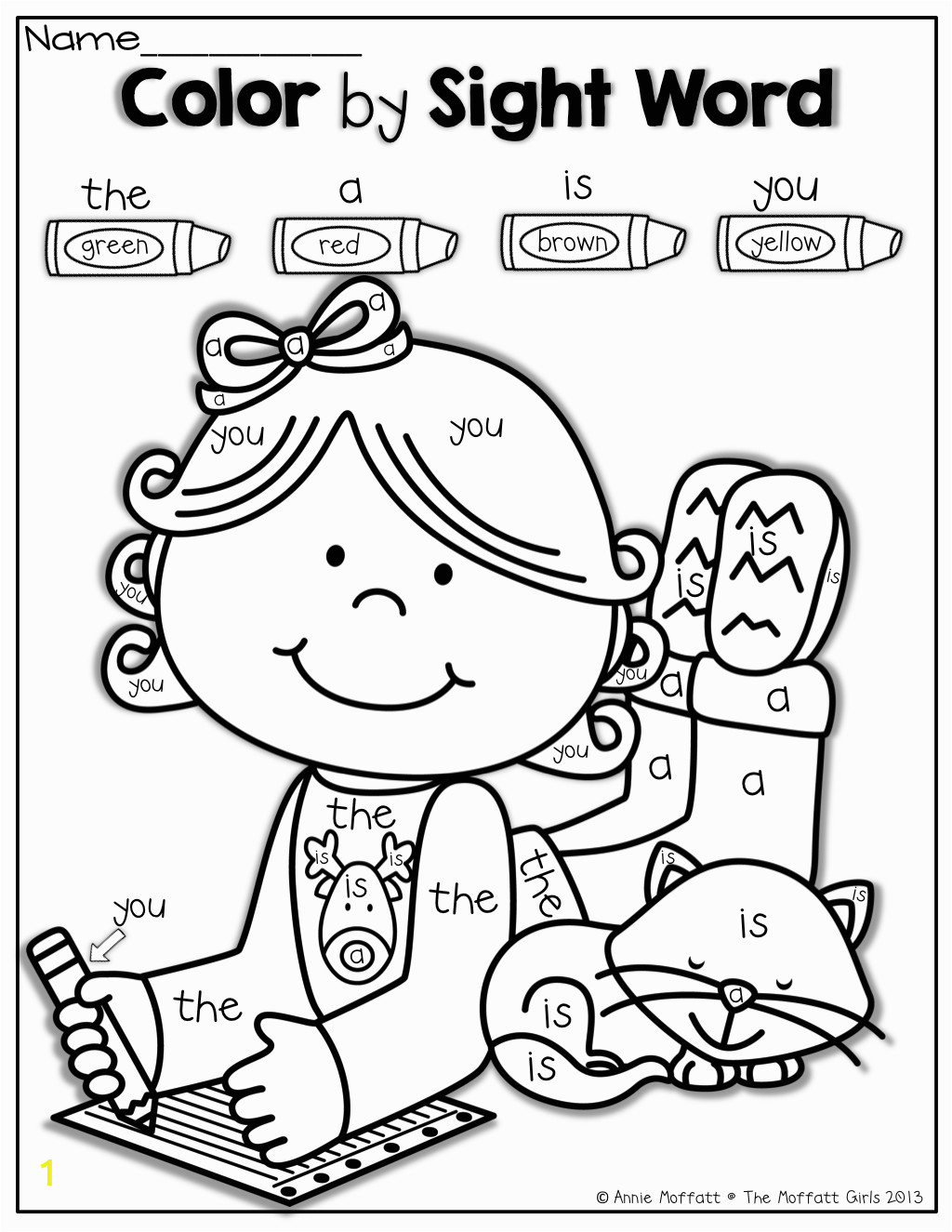 Sight Word Coloring Pages for Kindergarten Color by Sight Word
