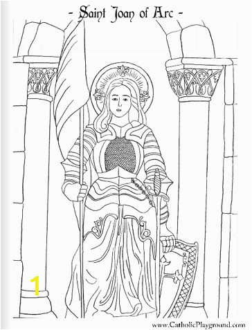 a coloring page for may 30th saint joan of arc