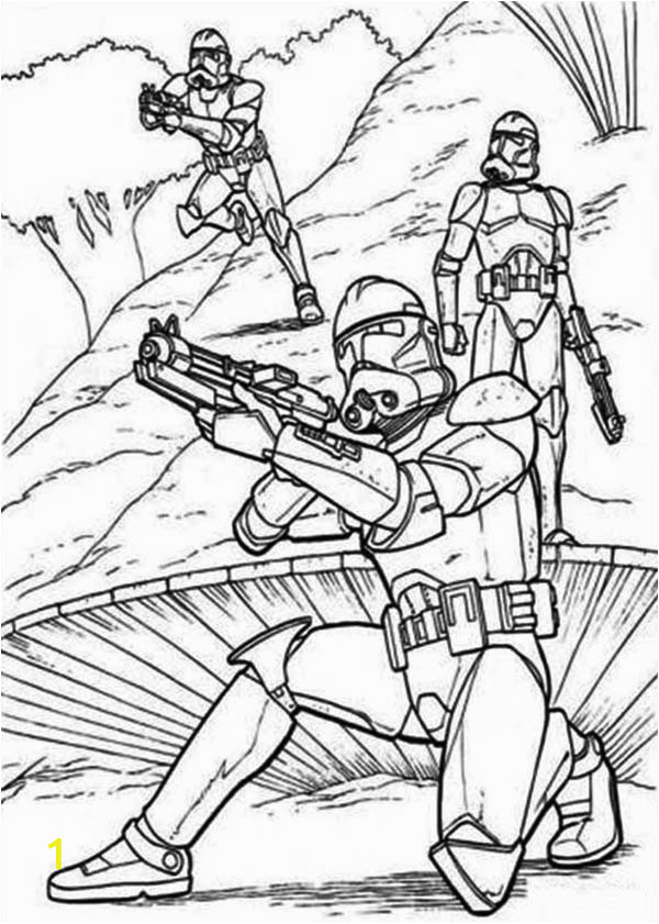 the clone troopers standby in star wars coloring page 2
