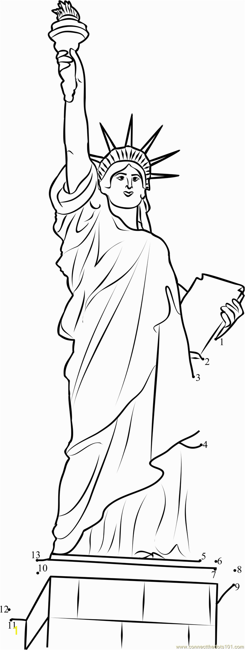 statue of liberty coloring activity sketch templates