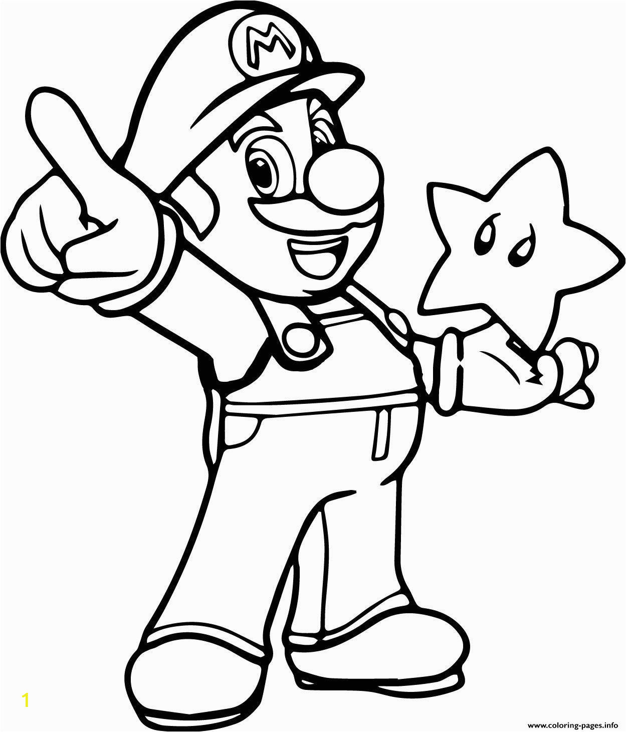 super mario with a star printable coloring pages book