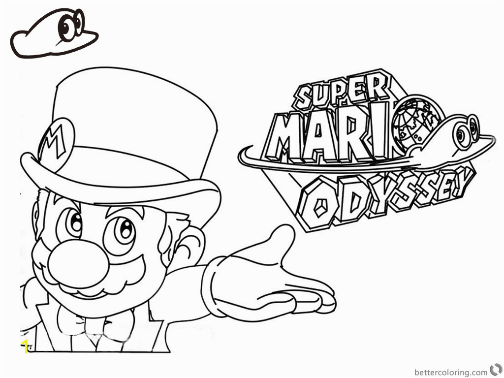 super mario odyssey coloring pages line art with logo