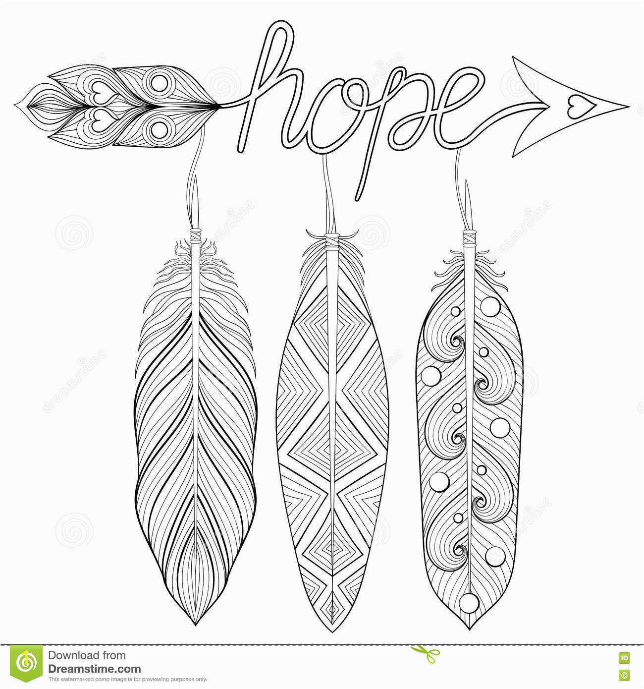 stock illustration bohemian arrow hand drawn amulet letters hope feathe feather decorative arrows adult coloring pages ethnic patterned image