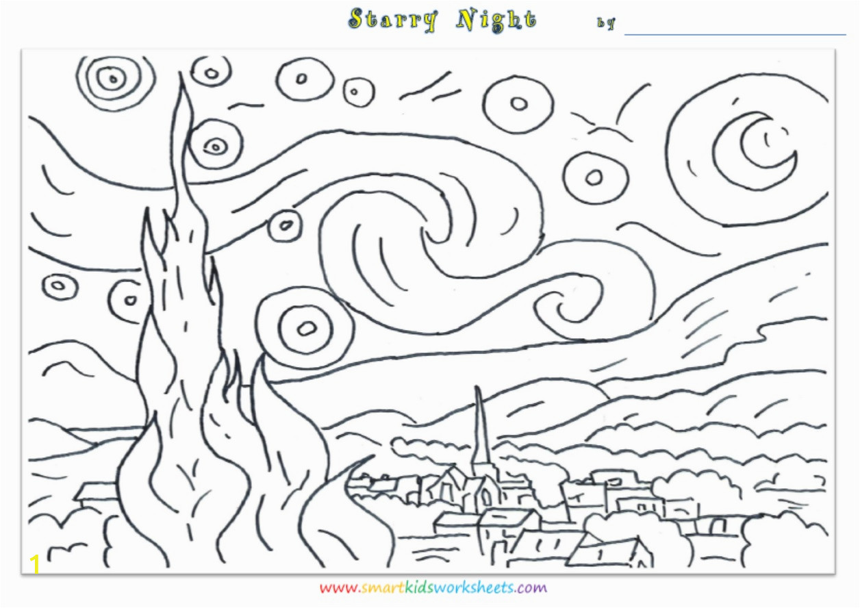 van gogh starry night coloring page sketch templates