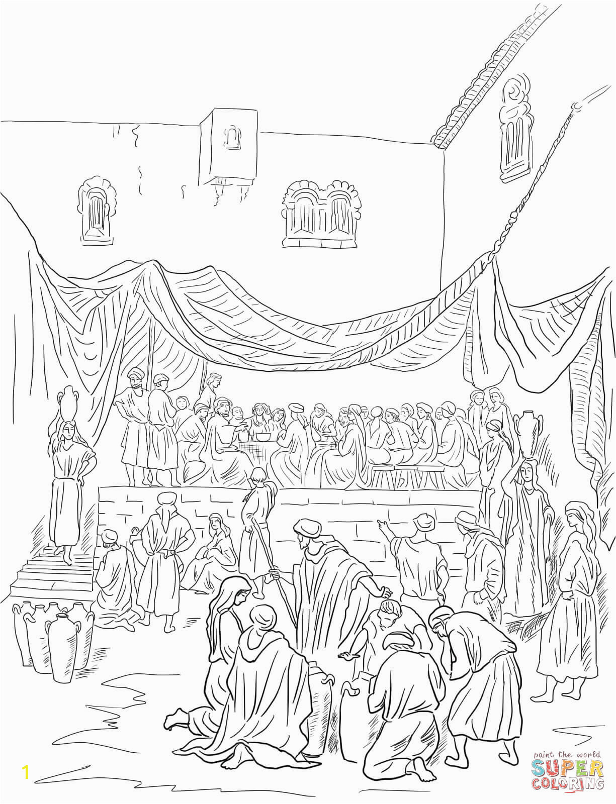 Wedding Feast at Cana Coloring Page the Marriage Feast at Cana Coloring Page