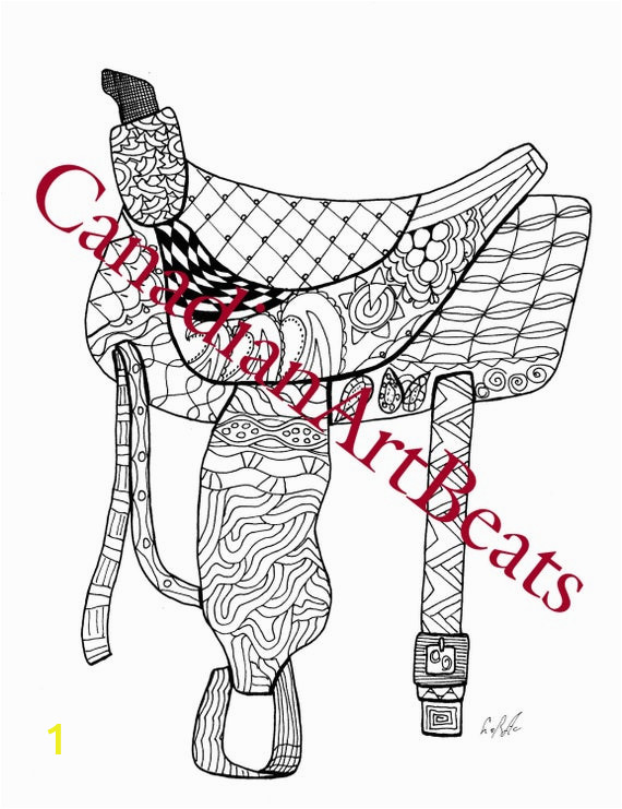 saddle western horse adult coloring page