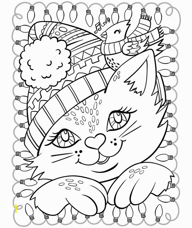 christmas cat and cardinal coloring page