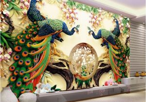 1 Wall Mural Review Custom 3d Wall Mural Wallpaper 3d Non Woven Peacock Living Room Tv
