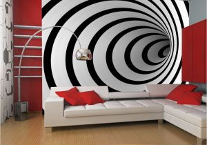 15 Foot Wall Mural Fototapeta Black and White 3d Tunnel Rozměry Å¡Å™ka X