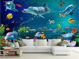 15 Foot Wall Mural Us $8 85 Off Custom Wallpaper Mural Underwater World Dolphin Wall Painting Living Room Bedroom Wallpaper for Walls 3 D Papier Peint Beibehang In