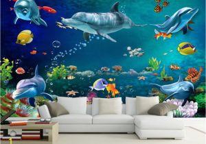 15 Foot Wall Mural Us $8 85 Off Custom Wallpaper Mural Underwater World Dolphin Wall Painting Living Room Bedroom Wallpaper for Walls 3 D Papier Peint Beibehang In