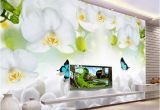 3 Dimensional Wall Murals Modern Simple White Flowers butterfly Wallpaper 3d Wall Mural Living Room Tv sofa Backdrop Wall Painting Classic Mural 3 D Wallpaper