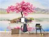 3d Cherry Blossom Wall Mural 3d Red Tree Wallpaper Wall Murals Self Adhesive Removable Wallpaper