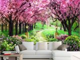 3d Cherry Blossom Wall Mural Amazon Hwhz Customized Size 3d Wallpaper Cherry Tree