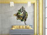 3d Dinosaur Wall Mural New Creative Cartoon 3d Dinosaur Pvc Broken Wall Sticker Diy