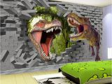 3d Dinosaur Wall Mural Papel De Parede 3d Stereo Cartoon Dinosaur Broken Wall Mural