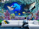 3d Dinosaur Wall Mural Us $14 91 Off 3d Wallpaper Custom Photo Non Woven Underwater World Cave Sharks 3d Wall Murals Wallpaper for Walls 3 D Room Decoration Painting In
