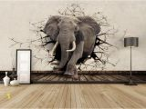 3d Elephant Wall Mural Custom 3d Elephant Wall Mural Personalized Giant