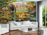 3d Elephant Wall Mural Großhandel Benutzerdefinierte Wandbild Tapete 3d Kinder Cartoon Tier Welt Wald Foto Wandmalerei Fresko Kinder Schlafzimmer Wohnzimmer Wallpaper 3 D
