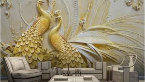 3d Embossed Wall Murals Mural Wallpaper 3d Stereoscopic Embossed Golden Peacock