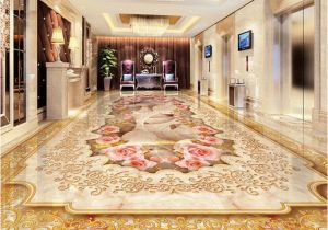 3d Floor Murals for Sale Custom 3d Floor Murals Imitation Marble Flower Pattern Luxury Living