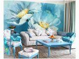 3d Floral Wall Murals 3d Floral Wall Seam Wallpaper Blue Lotus Wall Mural Floral