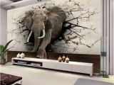 3d Interior Wall Murals Custom 3d Elephant Wall Mural Personalized Giant Wallpaper