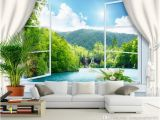 3d Interior Wall Murals Custom Wall Mural Wallpaper 3d Stereoscopic Window Landscape