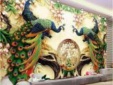 3d Mural Wall Hanging Chinese Style Classic Peacock Green Branches 3d Nature Wallpaper