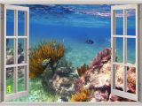 3d Ocean Wall Murals Underwater Wall Sticker Coral Reef Fishes 3d Window Fishes