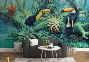 3d Photo Wall Murals Tropical toucan Wallpaper Wall Mural Rainforest Leaves