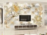 3d Wall Mural Painting Gold Swarovski Floral Wallpaper Mural