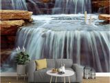 3d Waterfall Wall Mural 3d Wallpaper Modern Fashion Waterfalls Stream Mural Wall Paper Living Room Tv sofa Background Home Decor 3 D Wall Painting Free Wallpapers for