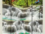 3d Waterfall Wall Mural 3d Wallpaper Waterfall Birds Fish Lotus Wall Murals Bathroom