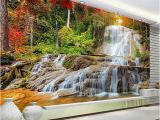 3d Waterfall Wall Mural Custom Wallpaper Murals 3d Hd forest Rock Waterfall Graphy Background Wall Painting Living Room sofa Mural Wallpaper Canada 2019 From
