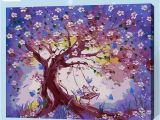 Acrylic Paint for Murals Frameless Digital Painting by Number Purple Flower Tree Acrylic