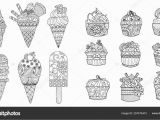 Adult Coloring Pages Cupcakes Drawing Ice Cream Cupcakes Set Adult Coloring Book Coloring
