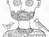 Adult Male Coloring Pages Hipster Man with Birds and Flowers His Head Coloring Page