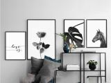 African American Wall Murals 2019 Black and White Horse Flower Wall Art Canvas Poster Print