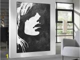 African American Wall Murals Black White Minimalist Abstract Painting Woman Face Silhouette