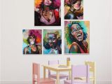 African Mural Painting Afro Woman Portrait Wall Art Canvas Print Abstract Multi African