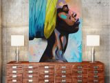 African Mural Painting Contemplator African American Portrait Wall Art Canvas Print Home