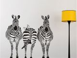 African Murals Walls Three Zebra Size Wall Sticker Kids Room Bedroom Playroom Wall