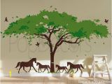 African Murals Walls Wall Decal Tree Wall Mural Horses Decal Vinyl Wall Decor Africa