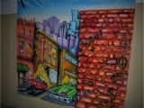 "Airbrushed Murals On Walls Night Life City Scene Mural Hand Painted by ""uber Spoony G"""