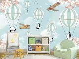 Airplane Wallpaper Murals Beibehang Custom Wallpaper Cartoon Hand Painted Animal Hot Air