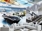 Airplane Wallpaper Murals Beibehang Fighter Aircraft Carrier 3d Large Wall Mural Hd Tv