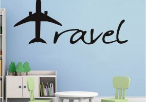Airplane Wallpaper Murals Cartoon Aircraft Wall Sticker Travel Letters Design Wall Decal Baby