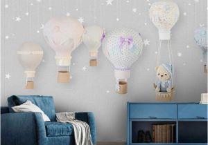 Airplane Wallpaper Murals Children S Room Wall Paper Stickers Cartoon Balloon Wallpaper